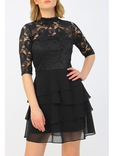 Random Kadın Volan Detaylı Dantel Elbise Siyah